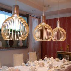 Design moderno 4240 da lâmpada de Luz Pendente sala de jantar restaurante Coffe Bar estudo E27 100 W bulbo Seppo Koho gaiola de madeira de madeira iluminação(China (Mainland))