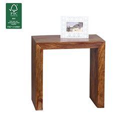 WOHNLING Beistelltisch Massiv Holz Sheesham 60 X 35 Cm Wohnzimmer Tisch  Design Dunkel