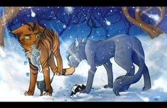 Bluestar and Oakheart with kits Mistyfoot and Stonefur and mosskit