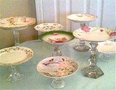 I've got these already! DIY vintage pie stands. Glue + candle holders, cups, and vintage plates.  Took a few months of vintage shopping and garage sales but my collection looks a lot like this, just with my own personal flair. Total cost for about 15 plates and an hour or so of work = $50. Typically ONE vintage stand costs that! So, this is worth the DIY effort.