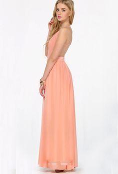 Peach V-neck Spaghetti Straps Backless Maxi Dress 20.99