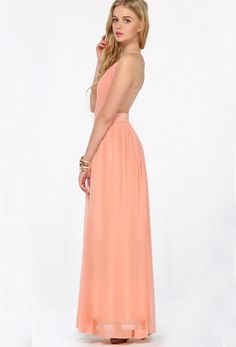 Peach V-neck Spaghetti Straps Backless Maxi Chiffon Dress