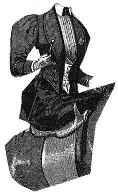 1894 Black Cloth Riding Habit with Vest Pattern