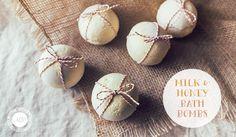 DIY Homemade Milk and Honey Bath Bombs Recipe
