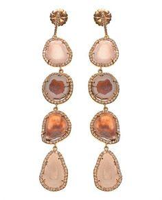 Druzy and diamond earrings