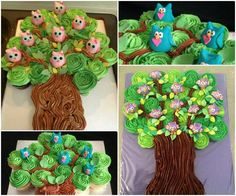 How to DIY Adorable Owl Tree Cupcake Tower | www.FabArtDIY.com  #Cake, #Decorating, #Design