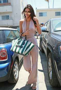 Kendall Jenner spring style with pastel jumpsuit and Celine handbag. #celebrity #celebritystyle #kendalljenner #jumpsuit #pastels #celine #celinebag #spring