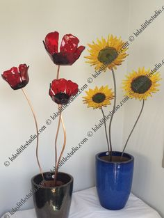 fused glass poppies sunflowers and sculptural glass leaves | Lesley O'brien Glass Art
