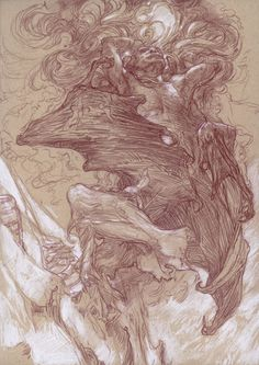 By Donato Giancola - Tis Gandalf casting the Balrog off the mountain, I believe. I like how Gandalf is using his powers to do battle here, not just brute force (which is kind of what it felt like in the movie). Also, I really like this interpretation of the balrog. I wish more artists would show their own interpretations, as I like knowing what different people imagined in that scene.