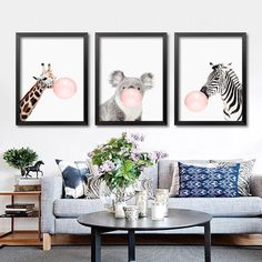 Modern Balloon Animals Canvas Art Print Poster, Wall Pictures for Children Room Decoration, Giclee Wall Decor FG0050