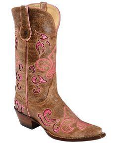 Ferrini Croc Print Laser Inlay Fleur-De-Lis Embroidered Cowgirl Boots - Snip Toe