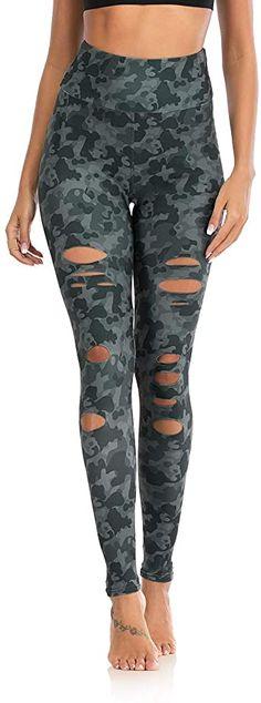 WDIRARA Womens Camo Print Wide Band Waist Sheer Mesh Insert Crop Leggings XS