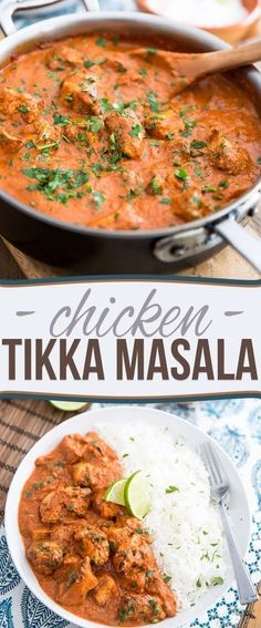 Chicken Tikka Masala is an extremely popular Indian stew tha. - Chicken Tikka Masala is an extremely popular Indian stew that's made with chunks of tangy grilled chicken all wrapped up in a creamy spicy tomato sauce. Chicken Tikka Masala Rezept, Poulet Tikka Masala, Tikka Masala Recipes, Chicken Tika Masala Recipe, Chicken Tandoori Masala, Chicken Curry Recipes, Chicken Masala Curry, Easy Chicken Tikka Masala, Healthy Chicken Curry
