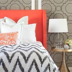 master-bedroom-organic-chevron-duvet-west-elm-coral-grasscloth-pillows-decorate-design-pattern-mix-watermelon - Cute Decor