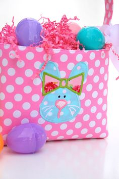 Fabric Easter Basket Bunny Applique Pink polka dot by ladesigns2, $30.00