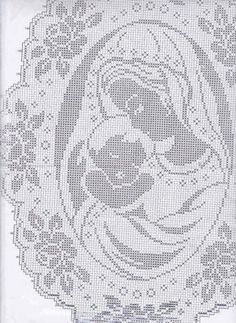Филейная салфетка «Богородица». Схема вязания крючком