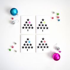 Use a star shaped paper punch to create these DIY modern Christmas cards. The bold geometric pattern is beautiful and trendy this holiday season. Modern Christmas Cards, Christmas Wrapping, Xmas Cards, Diy Cards, Handmade Christmas, Christmas Crafts, Christmas Decorations, Christmas Trees, Christmas Activities For Families
