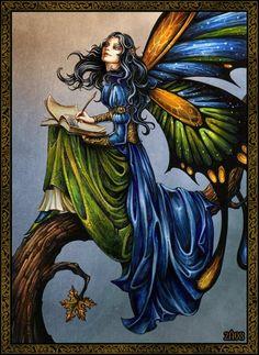 ☆ Fairytale Writer Fairy :¦: Art By =Candra ☆ Fairy Dust, Fairy Land, Fairy Tales, Magical Creatures, Fantasy Creatures, Fantasy World, Fantasy Art, Fantasy Fairies, Fantasy Paintings