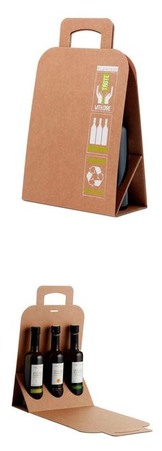How to carry all those bottles? Smart, cardboard, foldable wine bottle packaging   Olio Flaminio by Giovanna Gigante #green #recyclable #transport