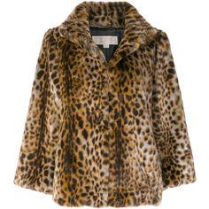 Michael Michael Kors Leopard Print Faux Fur Jacket ($420) ❤ liked on Polyvore featuring outerwear, jackets, animalier, michael michael kors jacket, brown jacket, animal print jacket, leopard jacket and brown faux fur jacket