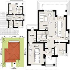 PROIECT CD-1045 « Firmă de construcții case Architect House, Floor Plans, Construction, Exterior, House Design, Design Interior, Houses, Trendy Tree, Building