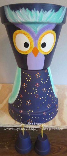 Whimsical Owl Pot Person Garden Planter Pot by GARDENFRIENDSNJ