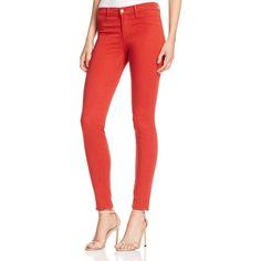 J Brand Mid Rise Super Skinny Jeans in Bossa Nova ($195) ❤ liked on Polyvore featuring jeans, bossa nova, j brand, medium rise jeans, j brand skinny jeans, cut skinny jeans and red skinny leg jeans