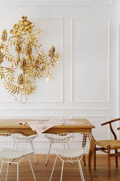Escultura dorada vintage de pared racimo de uvas