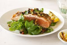 Olives and capers add flavour to this gourmet salmon dish.