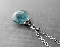 Moss Aquamarine Necklace with Oxidized by AllureStudioWorks