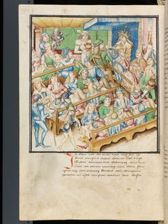 """uczta z podziałem na stoły - """"Amtliche Berner Chronik"""" by Diebold Schilling. It represents a feast in 1473, given by the Duke of Burgundy in honor of the Emperor. Cheers!  Bern, Burgerbibliothek, Mss.h.h.I.3, p. 170 – Diebold Schilling, Amtliche Berner Chronik, vol. 3"""