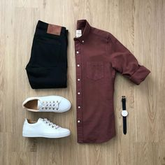 Mens fashion trends - The outfit is never complete without a pair of sneakers and a bold shirt ! Mens Fashion ideas Mens Fashion Flatlay Mens Flatlays Mens Outfit ideas What to wear to office Men mens Business Casual Attire For Men, Casual Wear For Men, Stylish Men, Stylish Outfits, Fashion Outfits, Fashion Flatlay, Fashion Ideas, Stylish Clothes, Fashion Clothes