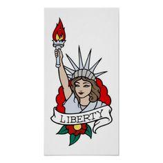Vintage Statue Of LIberty Tattoo Poster Statue Of Liberty Drawing, Statue Of Liberty Tattoo, Statue Tattoo, Tattoo Posters, Old School Tattoo Designs, Traditional Tattoo Design, 1 Tattoo, Arte Horror, Tattoo Stencils