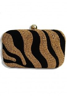 Gold Shimmer Zebra Clutch