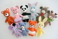 Crochet Animals: tiger, piggy, panda, donkey, monkey, deer, elephant, bear, fox and bunny, Pattern, English