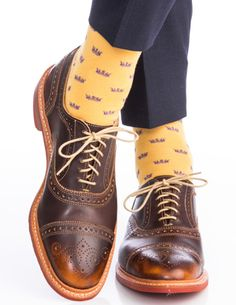 Dapper Classics Saffron with Purple Crown Fine Merino Wool Linked Toe Sock