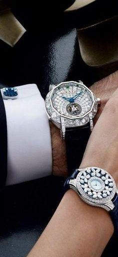 His hers graff diamo beauty bling jewelry fashion harry winston, beautiful watches, fashion moda Cool Watches, Watches For Men, Beautiful Watches, Bling Jewelry, Graff Jewelry, Silver Jewelry, 925 Silver, Diamond Are A Girls Best Friend, Naples