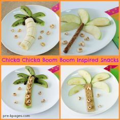 kids nutrition Chicka Chicka Boom Boom inspired snack recipes for your preschool, pre-k, and kindergarten classroom. Preschool Cooking Activities, Preschool Crafts, Book Activities, Toddler Meals, Kids Meals, Chicka Chicka Boom Boom, Snacks Für Party, Food Crafts, Cooking With Kids