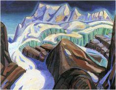 The Glacier, Arthur Lismer Canadian, Member of The Group of Seven 1885 - 1969 Canadian Painters, Canadian Artists, Landscape Art, Landscape Paintings, Landscapes, Oil Paintings, Emily Carr Paintings, Group Of Seven Art, Art Gallery Of Hamilton