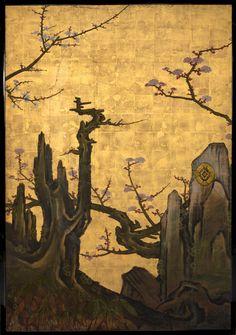 """""""老梅図襖, Old Plum, Kano Sansetsu (Japanese, """" Korean Painting, Japanese Painting, Traditional Japanese Art, Traditional Paintings, Japanese Drawings, Japanese Prints, Feuille D'or, Leaf Art, Japan Art"""