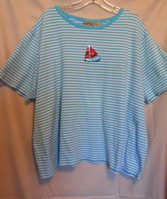 Coral Bay Aqua White Stripe Size3X Scoop Neck Short Sleeve Sequin Sailboat
