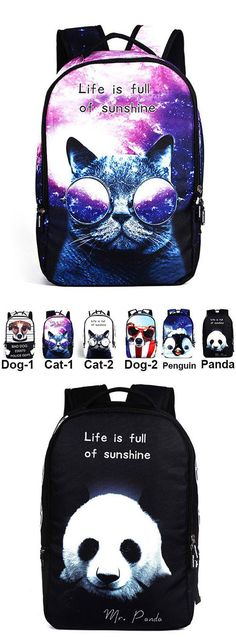 Cute Starry Sky Large Travel Backpack Punk Cute Dog Panda Cat Animals Galaxy Backpack for big sale! #PANDA #GALAXY #punk #sky #Backpack #Bag #dog