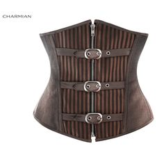 Kimring Women's Gothic Steampunk Corset Steel Boned Underbust Corsets and Bustiers Shapewear Waist Trainer Cincher Corselet Gothic Steampunk, Plus Size Steampunk, Steampunk Belt, Steampunk Fashion, Corset Underbust, Waist Cincher Corset, Leather Corset, Faux Leather Belts, Cintura Cincher