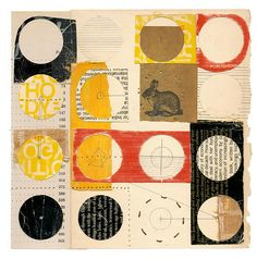 """circle bunny   1  8 x 8""""  book part, graphite, thread, glue, on paper    by Melinda TIdwell"""
