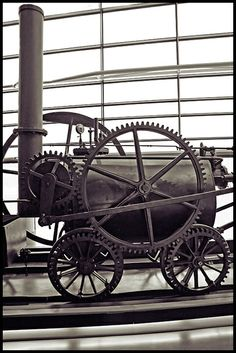 Richard Trevithick's Penydarren Locomotive, 1803. The first high pressure steam engine, and the original steam locomotive.