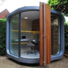 Creative Modern Small Prefab Home Office Design in Backyard – OfficePOD Shed Office, Office Pods, Cool Office, Office Ideas, Tiny Office, Future Office, Corner Office, Office Setup, Outdoor Office