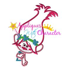 BIG SALE Troll Movie Poppy Girl Applique Embroidery Machine Design 5 sizes Instant Download by http://www.appliqueswithcharacter.com/