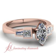 Marquise Shaped, Princess Cut and Straight Baguette Diamonds 14K Rose Gold Side Stone Engagement Ring in Bar Setting || Twin Baguette Ring