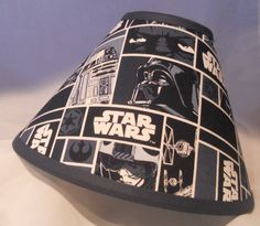Star Wars New Lamp Shade Characters In Blocks Anakin Vader R2D2 C3PO Blue  (10 Sizes To Choose From!)