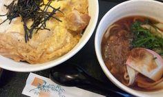 Kishimen(noodles made in flat strips) & Mikawadoridon(Mikawa chicken bowl). #japan #food #nagoya